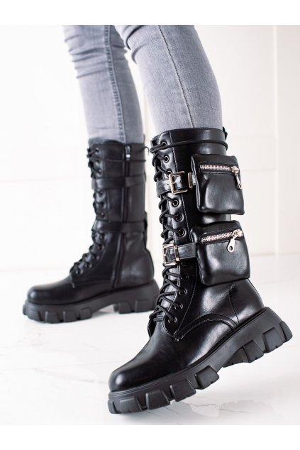 Čierne dámske topánky Trendi kod 7709B