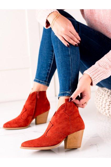 Červené dámske topánky Lucky shoes kod T221R