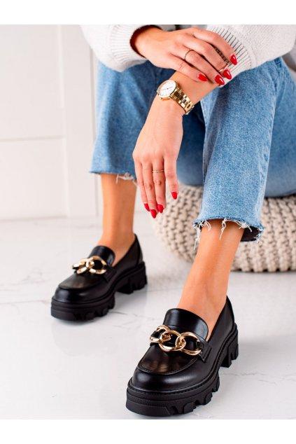 Čierne dámske poltopánky Sweet shoes kod D7863B