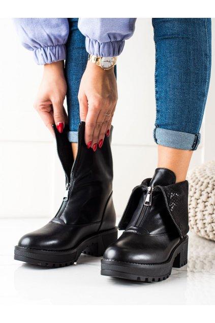 Čierne dámske topánky Vinceza kod HX22-16271B