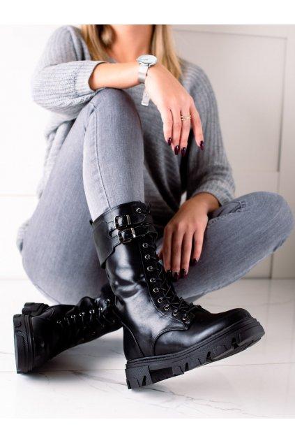 Čierne dámske topánky Vinceza kod XY22-16285B