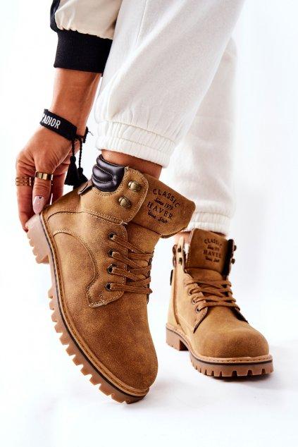 Členkové topánky na podpätku farba hnedá kód obuvi B177-9 CAM2#/D.BR
