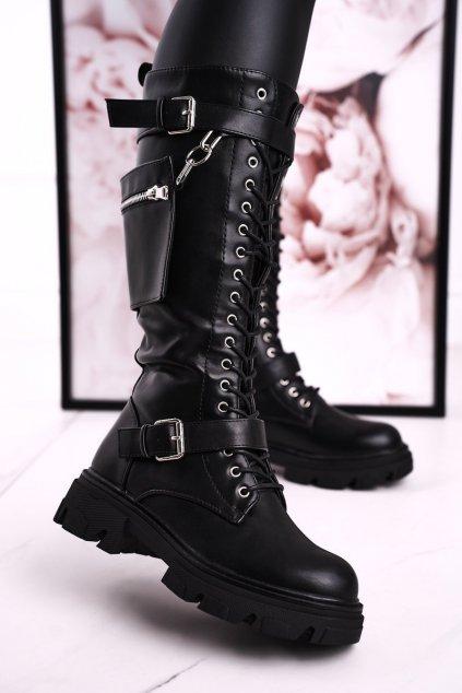 Dámske čižmy farba čierna kód obuvi YK06 BLK