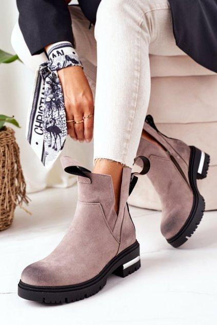 Členkové topánky na podpätku farba sivá kód obuvi NC1162 GREY
