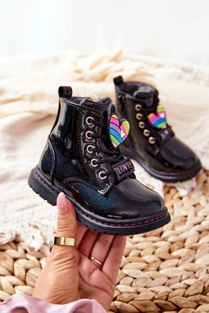 Detské členkové topánky farba čierna kód obuvi 21DZ23-4308 BLK