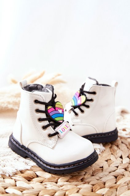 Detské členkové topánky farba biela kód obuvi 21DZ23-4308 WHT