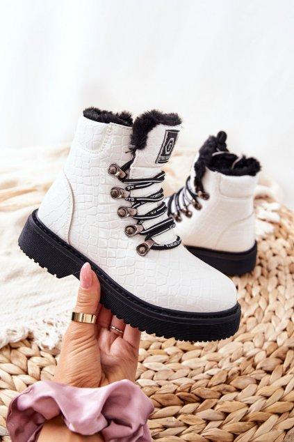 Detské členkové topánky farba biela kód obuvi 21DZ23-4317 WHT