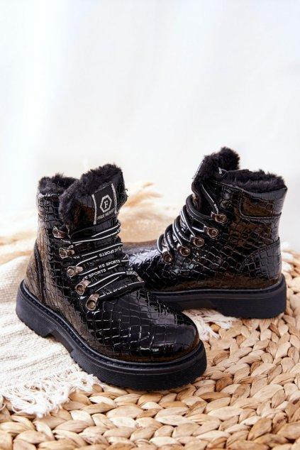 Detské členkové topánky farba čierna kód obuvi 21DZ23-4317 BLK