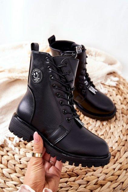 Detské členkové topánky farba čierna kód obuvi 21DZ23-4321 BLK