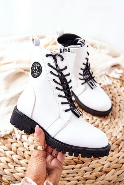Detské členkové topánky farba biela kód obuvi 21DZ23-4321 WHT