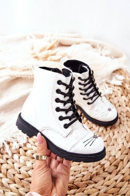 Detské členkové topánky farba biela kód obuvi 21DZ23-4309 WHT