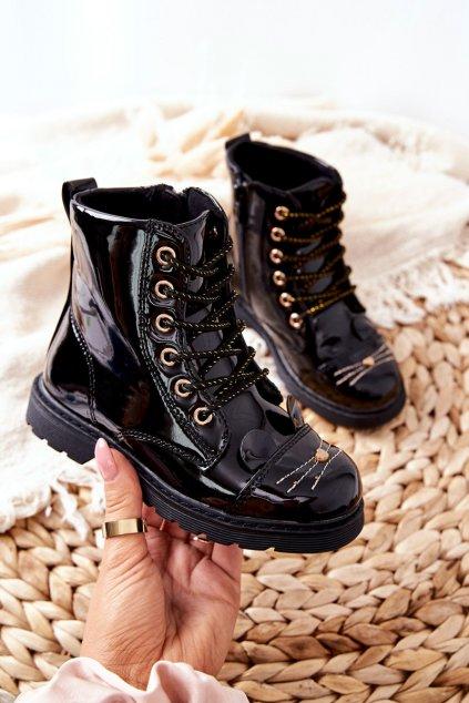 Detské členkové topánky farba čierna kód obuvi 21DZ23-4309 BLK