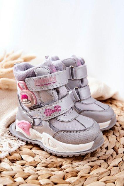 Detské členkové topánky farba sivá kód obuvi C-T9527-C SILVER