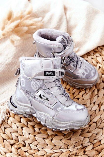 Detské členkové topánky farba sivá kód obuvi C-T9548-D SILVER