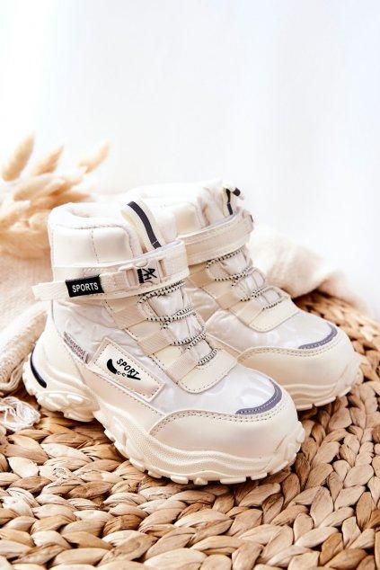 Detské členkové topánky farba hnedá kód obuvi C-T9548-B BEIGE