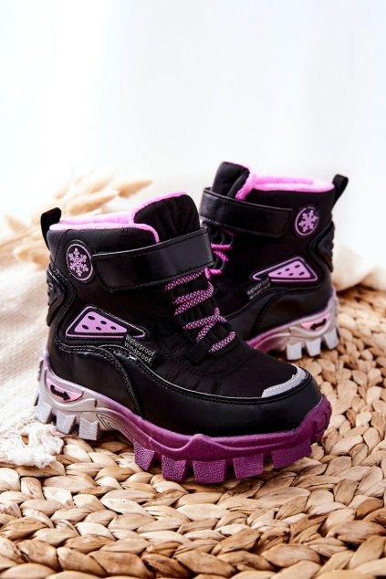 Detské členkové topánky farba čierna kód obuvi C-T9556-A BLK