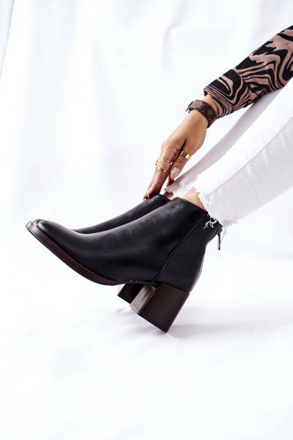 Dámske čierne členkové topánky na podpätku BT545 BLK PU
