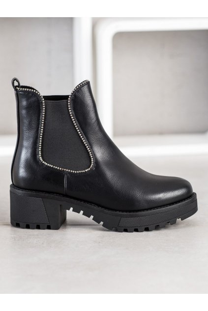 Čierne dámske topánky NJSK 0-307B