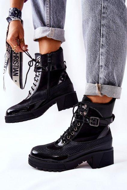 Členkové topánky na podpätku farba čierna kód obuvi 58-63 BLK