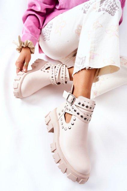 Členkové topánky na podpätku farba hnedá kód obuvi 168-296 BEIGE
