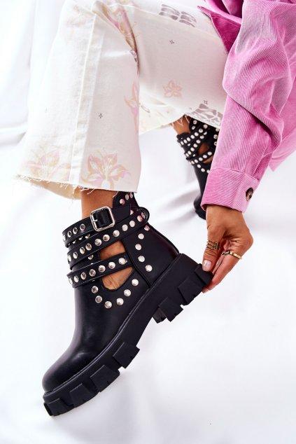 Členkové topánky na podpätku farba čierna kód obuvi 168-296 BLK