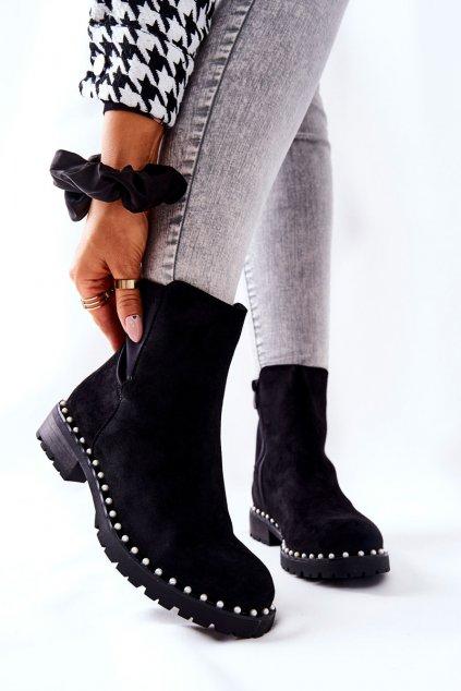 Členkové topánky na podpätku farba čierna kód obuvi RQ336 BLK