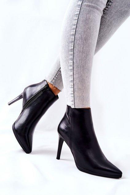 Členkové topánky na podpätku farba čierna kód obuvi BT501 BLK PU