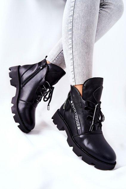 Členkové topánky na podpätku farba čierna kód obuvi BT740 BLK