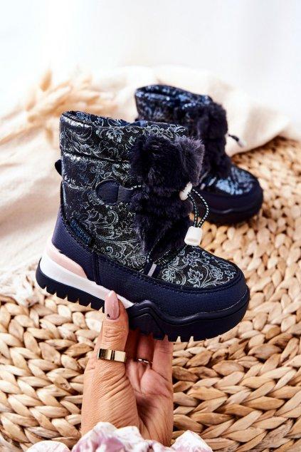 Detské členkové topánky farba modrá kód obuvi C-T7676-C NAVY