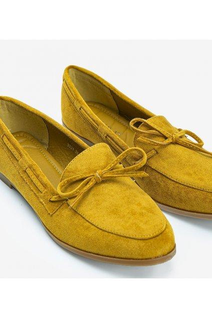 Dámske topánky mokasíny žlté NJSK 3394