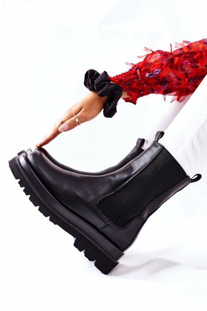 Členkové topánky na podpätku farba čierna NJSK 7223 BLK