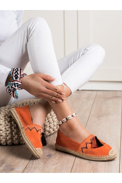 Oranžové dámske poltopánky Best shoes kod 3R11OR