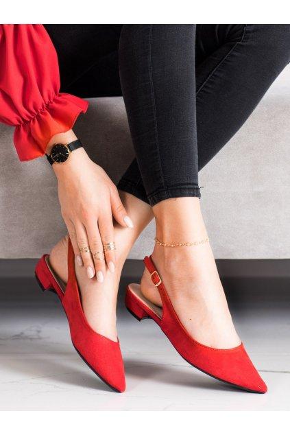 Červené dámske balerínky Lovery kod MM-801R