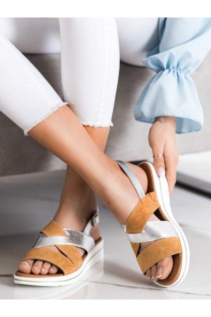 Hnedé dámske sandále Sergio leone kod SK039BE/S