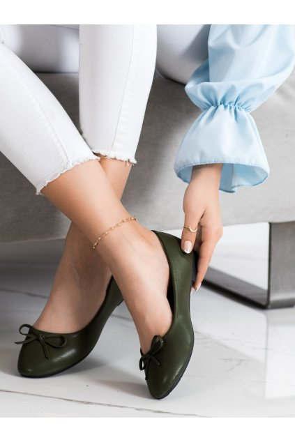 Zelené dámske balerínky Diamantique kod 9988-138GR