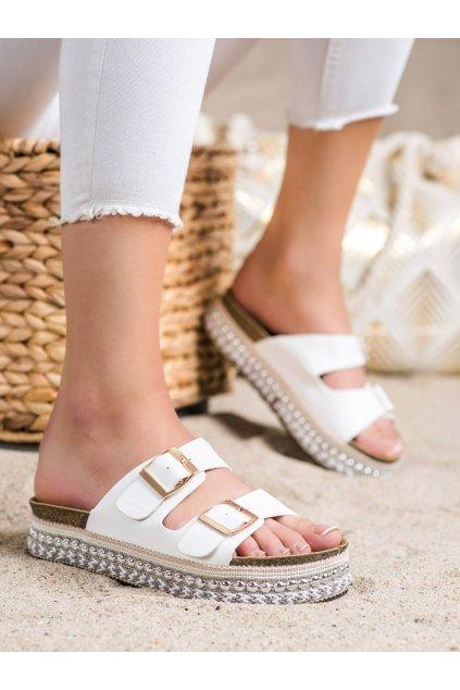 Biele dámske šľapky Trendi kod 701W