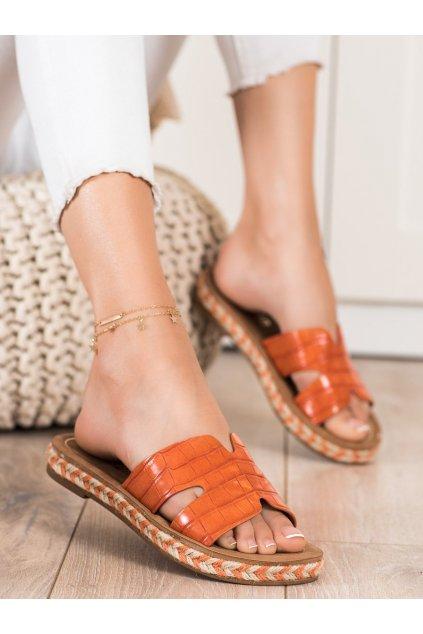 Oranžové dámske šľapky Trendi kod 705OR