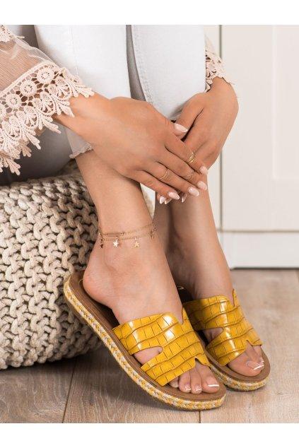 Žlté dámske šľapky Trendi kod 705Y