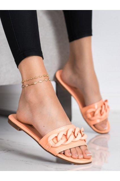 Oranžové dámske šľapky Ideal shoes kod 7857-1OR