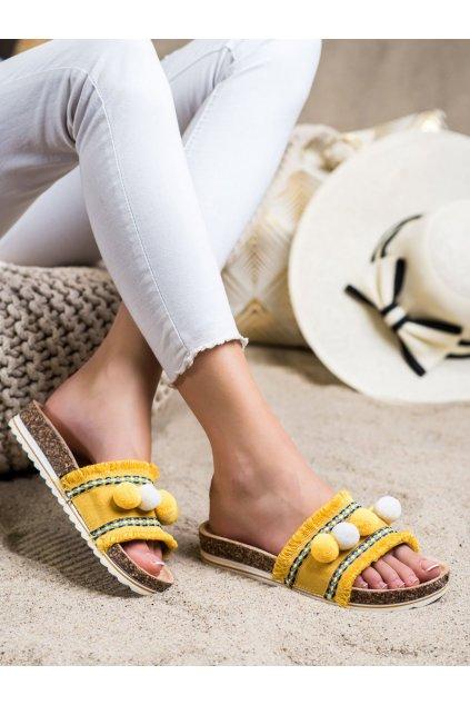 Žlté dámske šľapky Trendi kod G-811Y