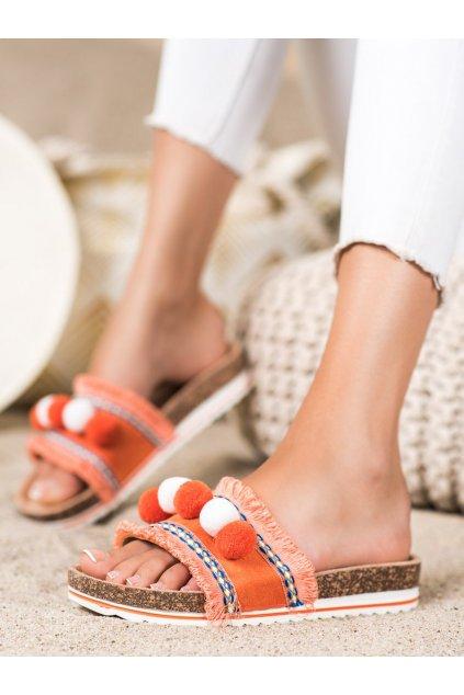 Oranžové dámske šľapky Trendi kod G-811OR