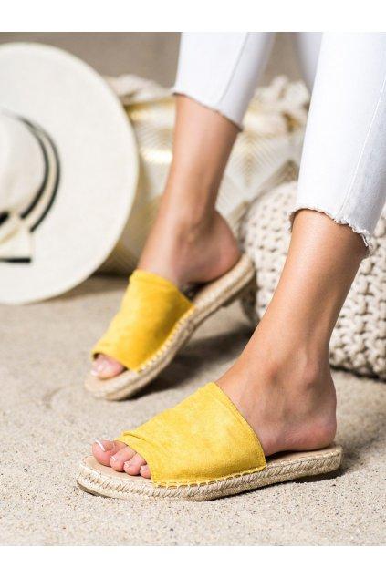 Žlté dámske šľapky Trendi kod LX203Y