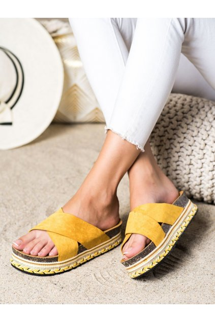 Žlté dámske šľapky Trendi kod LS016Y