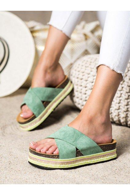 Zelené dámske šľapky Trendi kod LS016GR