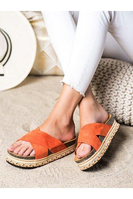 Oranžové dámske šľapky Trendi kod LS016OR
