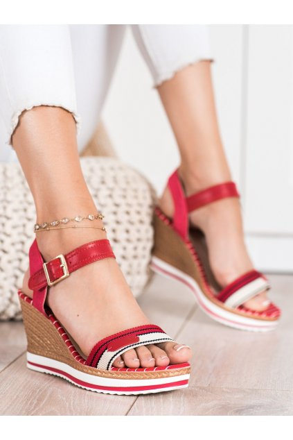 Červené dámske sandále Trendi kod A89832R