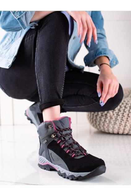 Čierne dámske trekové topánky Mckeylor kod FT22-8715B/P