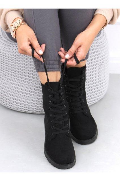 Dámske členkové topánky čierne na plochom podpätku RQ415
