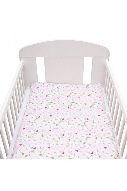 2-dielne posteľné obliečky New Baby 90/120 cm Vtáčiky ružovo-biele