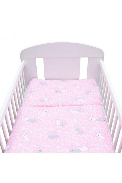 2-dielne posteľné obliečky New Baby 90/120 cm Králičky rúžový